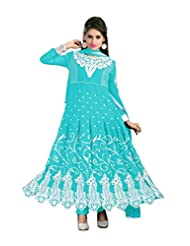 Trendz Apparels Turquoise 60 Gm Georgette Anarkali Suit Salwar Suit