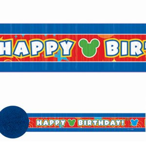 Amscan Disney Mickey Party Crepe Streamer (1 Piece), Blue/Red/White - 1