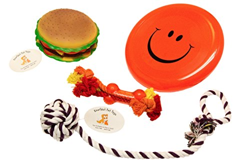 Everlast Pet Toys   Best Chew Squeak & Rope Bundle For Dogs   'Fat' Cheeseburger   'Smiley Face' Flying Disc   Guaranteed   Teether Bone Rope   Knotted Ball Loop Puller   Top Rated – #1 Seller
