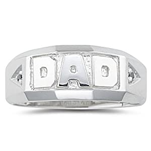 0.02 Cts Black Diamond Dad Ring in Silver-9.0