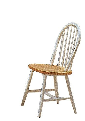 Set of 4 Natural & White Finish Windsor Wood Dining Chair/Chairs