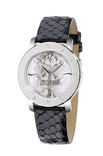 Just Cavalli - R7251191545 - Round - Montre Mixte - Quartz Analogique - Cadran Gris - Bracelet Cuir Noir