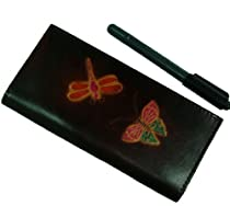 Leather Check Book Cover,Butterfly/Dragonfly Patterns Embossed on Both Side. (Dark Chocolate)