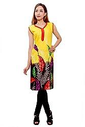 Kurti Studio Festive Yellow Unstitched Cotton Kurti Dress Material