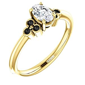 18K Yellow Gold Oval Cut White and Black Diamond Engagement Ring