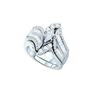 14kt White Gold Womens Natural Diamond Marquise Bridal Wedding Engagement Ring Band Set (1.50 cttw.)