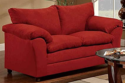 Contemporary Loveseat in Red Finish