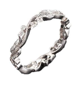Art Deco Antique Floral Filigree 14K White Gold 0.30ctw Round Cut Diamonds Full Eternity Estate Vintage Wedding Band Ring