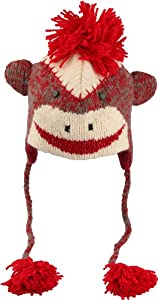 DeLux Sock Monkey Red Face Wool Pilot Animal Cap/Hat with Ear Flaps and Poms