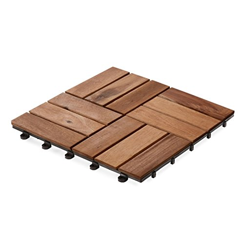casa pura Interlocking Acacia Wooden, Garden and Patio Decking Tiles, Ranger (Pack of 11) 12 x 12 inches (Wood Patio Pavers compare prices)