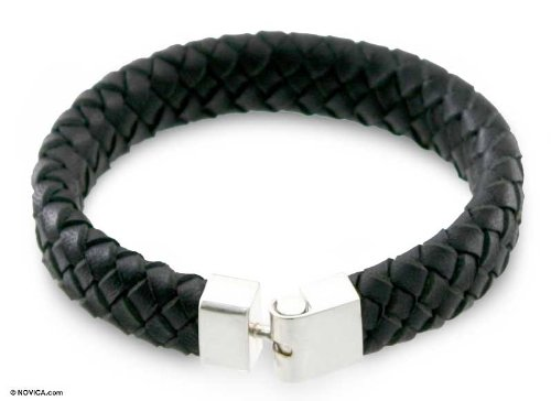 Men's Sterling Silver and Black Leather Bracelet,