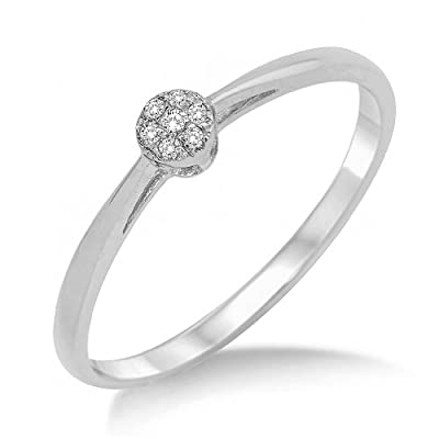 Miore 9ct White Gold Illusion Set Diamond Engagement Ring SA975R