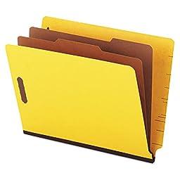 Universal One Pressboard End Tab Classification Folders, Letter, Six-Section, Yellow, 10/Box