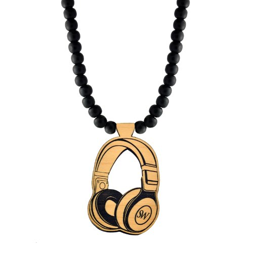 Headphones Wooden Pendant With Wood Bead Necklace Swaggwood Made In Usa