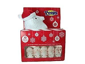 Peeps Christmas Holiday Gift Set Stuffed Peep Wearing Red Santa Hat White Marshmellow Peeps