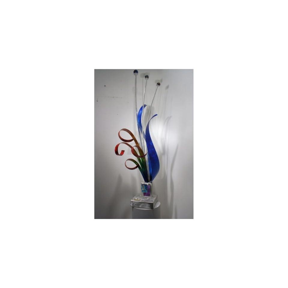 Abstract Handpainted Modern Metal Art Table Sculpture, Design by Alex Kovacs