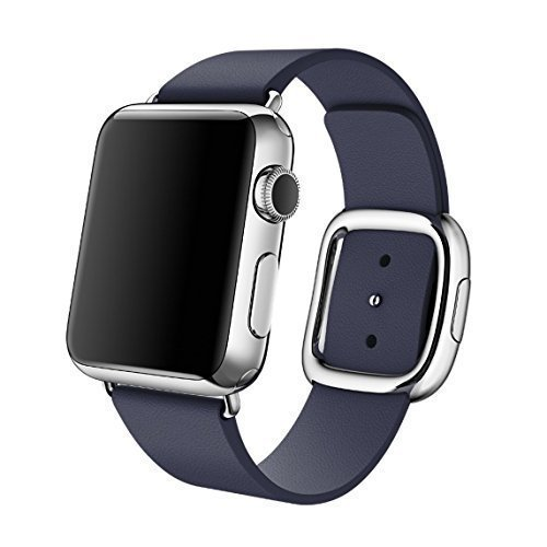 Apple Original 38mm Modern Buckle Replacement Band for Apple Watches MJ5C2ZM/A (Stainless Steel Buckle, Midnight Blue Leather Band, Watch Not Included) - Medium
