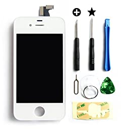 Select Replacement Digitizer and Touch Screen LCD Assembly for White Apple iPhone 4 (Fits CDMA Verizon/Sprint iPhone 4 only) + Repair Tool Kit White