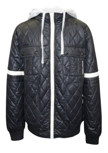 AXTokyo Mens Quilted Hoody Style Jacket (X-Large, Navy/Silver Grey)