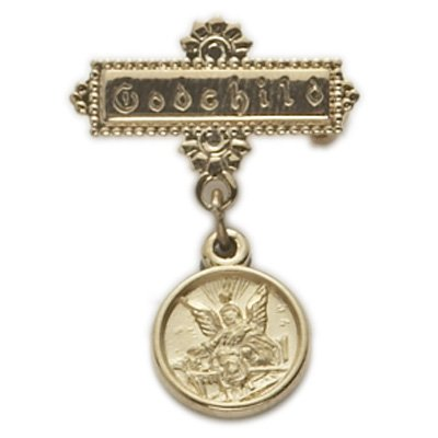 14K Gold Filled Baby Guardian Angel Bar Pin