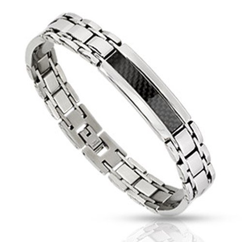 Stainless Steel Black/Silver Carbon Fiber Inlay Link Bracelet