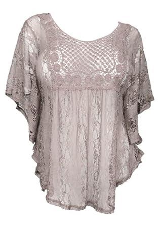 ab4304d6e eVogues Sheer Crochet Lace Poncho Top