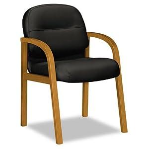 2190 Pillow-Soft Wood Series Guest Arm Chair, Medium Oak/Black Leather