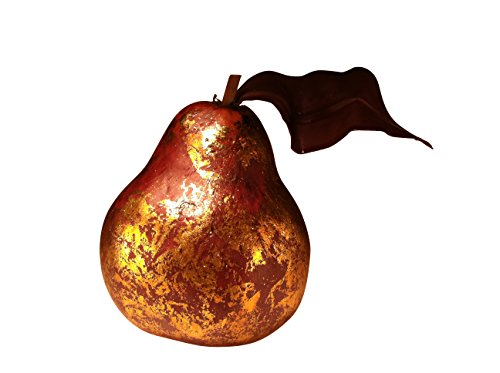 Fortune Share Golden Antique Pears Ornament for Decorative Basket – Great for Displaying & Decorating – Artificial Fruit -Box of 4