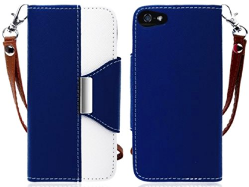 Mylife (Tm) Deep Blue And White Classy Design - Textured Koskin Faux Leather (Card And Id Holder + Magnetic Detachable Closing) Slim Wallet For Iphone 5/5S (5G) 5Th Generation Itouch Smartphone By Apple (External Rugged Synthetic Leather With Magnetic Cli