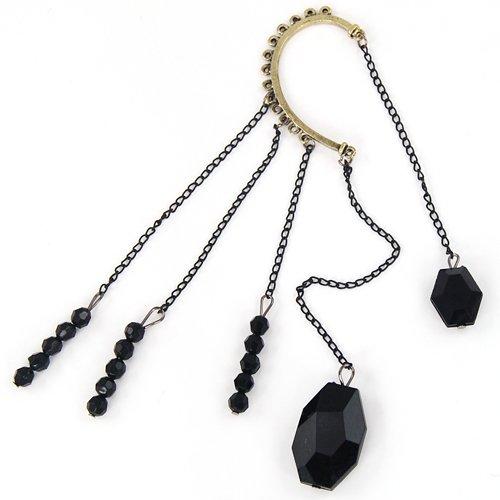 Rock Punk Exquisite Black Beads Long Chain Tassels Ear Cuff Earring