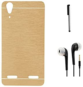 Tidel Golden Durable Aluminium Brushed Metallic Back Cover For Lenovo A 6000 shot With 3.5mm Handsfree Earphone & Stylus