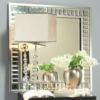 angelo:HOME Marlowe Square Wood Metal and Glass Mirror on Mirror