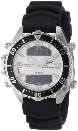 Chris Benz - CB-D-SILVER-KB - Montre Mixte - Quartz Digitale - Bracelet Caoutchouc Noir