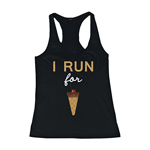 Women's Funny Design Tank Top - I Run For Ice Cream - Gym Clothes, Workout Tanks (I Run For Ice Cream Shirt compare prices)