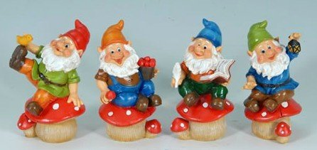 Set of 4 Gnomes on Mushrooms Garden Statues