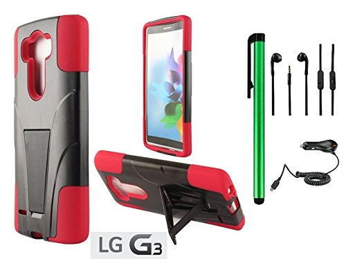Lg G3 Premium T-Stand / Side-Stand Hybrid Holster Design Protector Hard Cover Case (For 2014 Lg New Flagship Android Phone) + Car Charger + 3.5Mm Stereo Earphones + 1 Of New Assorted Color Metal Stylus Touch Screen Pen (Red / Black)