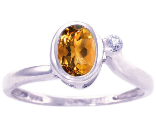 14K White Gold Simply Oval Gemstone and Diamond Promise Ring-Citrine, size7.5