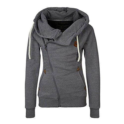 AJ FASHION Women's Oblique Zipper Hoodies Funnel Neck Full Zip Hooded Sweatshirt, Dark Grey, Tag XL=US L (Side Zipper compare prices)