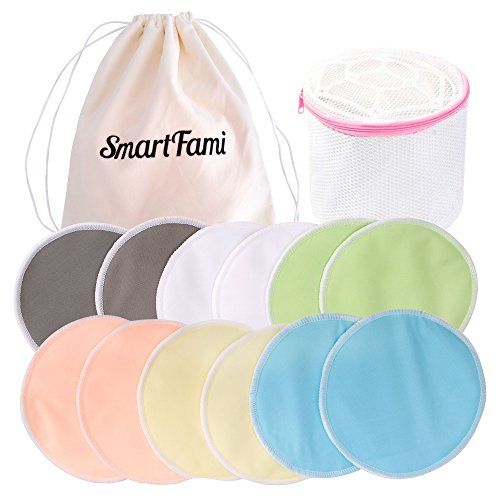 Die besten waschbaren Bio-Stilleinlagen aus Bambus (12er-Pack) mit Wäschenetz und Stofftasche von SmartFami, wiederverwendbare Brusteinlagen, ultraweich, wasserdicht, auslaufsichere BH-Einlagen, saugfähig, hautfreundlich, Stilleinlagen