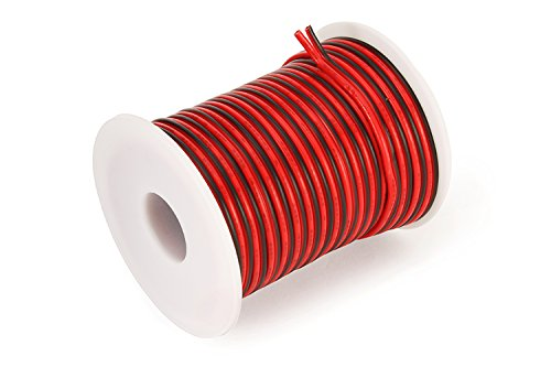 Lowest Prices! C-able 50FT Hookup Electrical 2 Red Black Silicone Wire LED Strip Extension Wire 18 G...