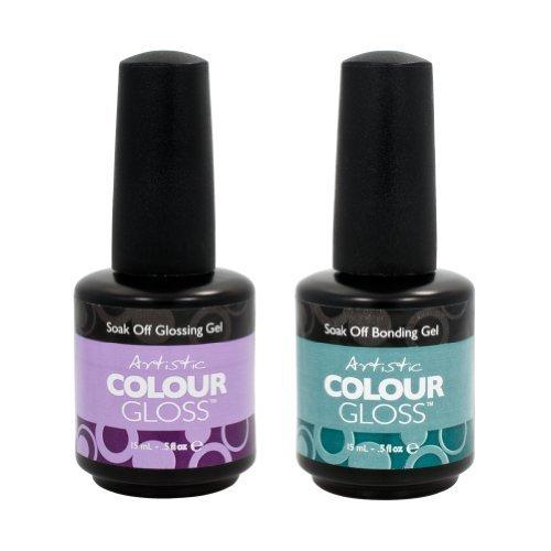 Artistic Nail Design 2 Piece Salon Manicure Bundle Bonding Gel & Gloss Coat .5oz (Artistic Gel Polish compare prices)