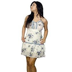 Atulya Women's Dress (ATOP01WB_Off-White_Large)