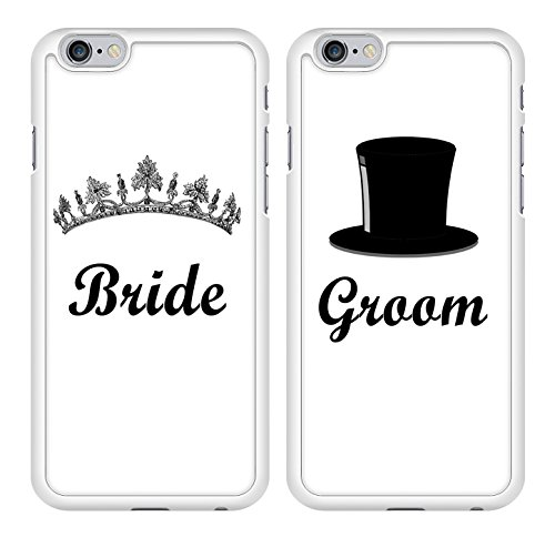 Bride and Groom Marriage Couple Snap-On Cover Hard Plastic Case Set for iPhone 6 – Set of 2 Cases (White)