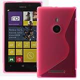 Custodia silicone tpu gel case cover Copertina per Nokia Lumia 925 incluso pellicola di protezione schermo S-Line Pink
