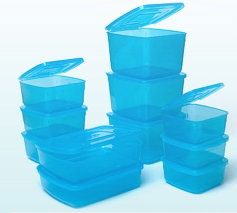 Charmant Everlid Plastic Food Storage Containers With REVOLUTIONARY Attached Lid  (set Of 11 In Blue)