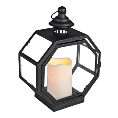 Everlasting Glow 8 Sided Metal Lantern With Plexiglass And LED Candle