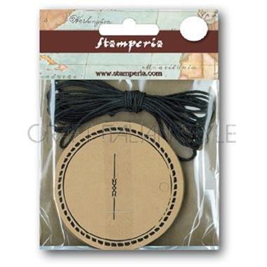Etiquetas redondas impresas con cordón negro.