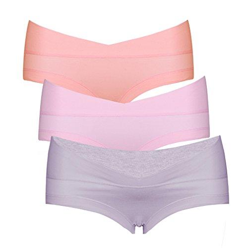 Intimate Portal Women Under the Bump Maternity Panties 3-Pk Pink Purple Orange XXL