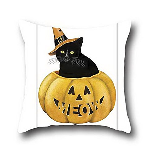 [Ciwei Robby Oil Painting Black Cats Halloween Bedding Microsuede Pillow Case ( 20*20 )] (Columbus Ohio Halloween)