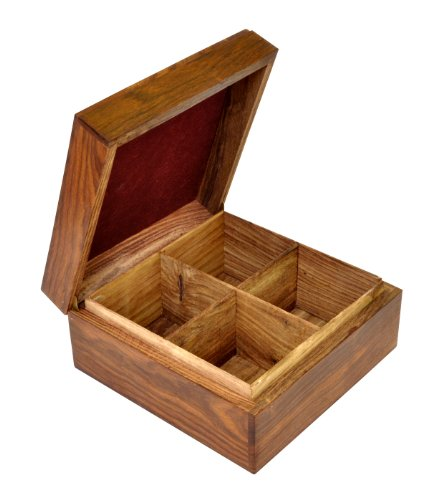 Souvnear Solid Handmade All-Wood Square Tea Box With 4 Compartments For Tea Bags, Leaves & Herbs In Rosewood
